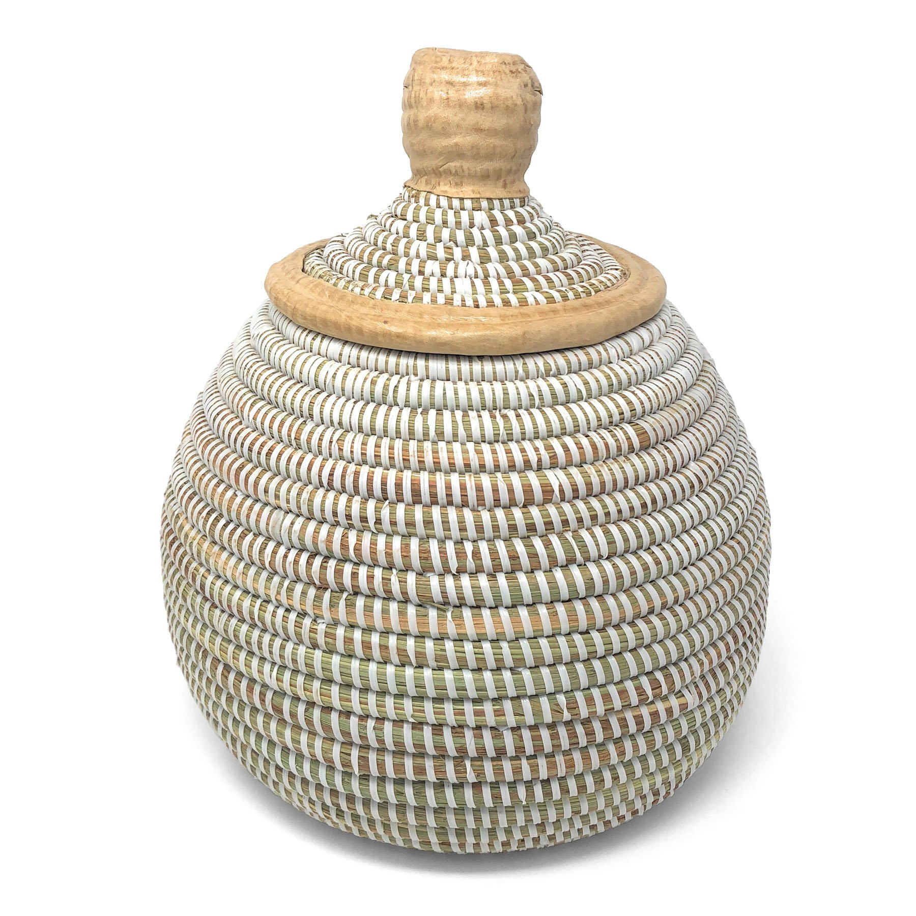 Swahili African Modern African Fair Trade Handwoven Gourd Basket with Leather Accents, White