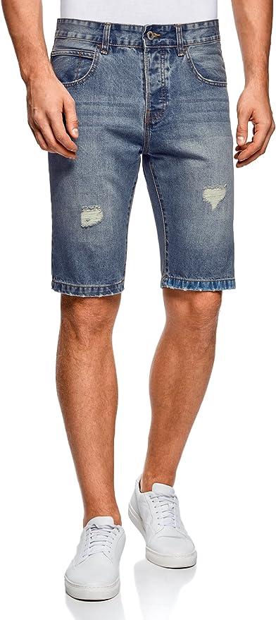 TALLA 38. oodji Ultra Hombre Pantalones Cortos Vaqueros con Agujeros