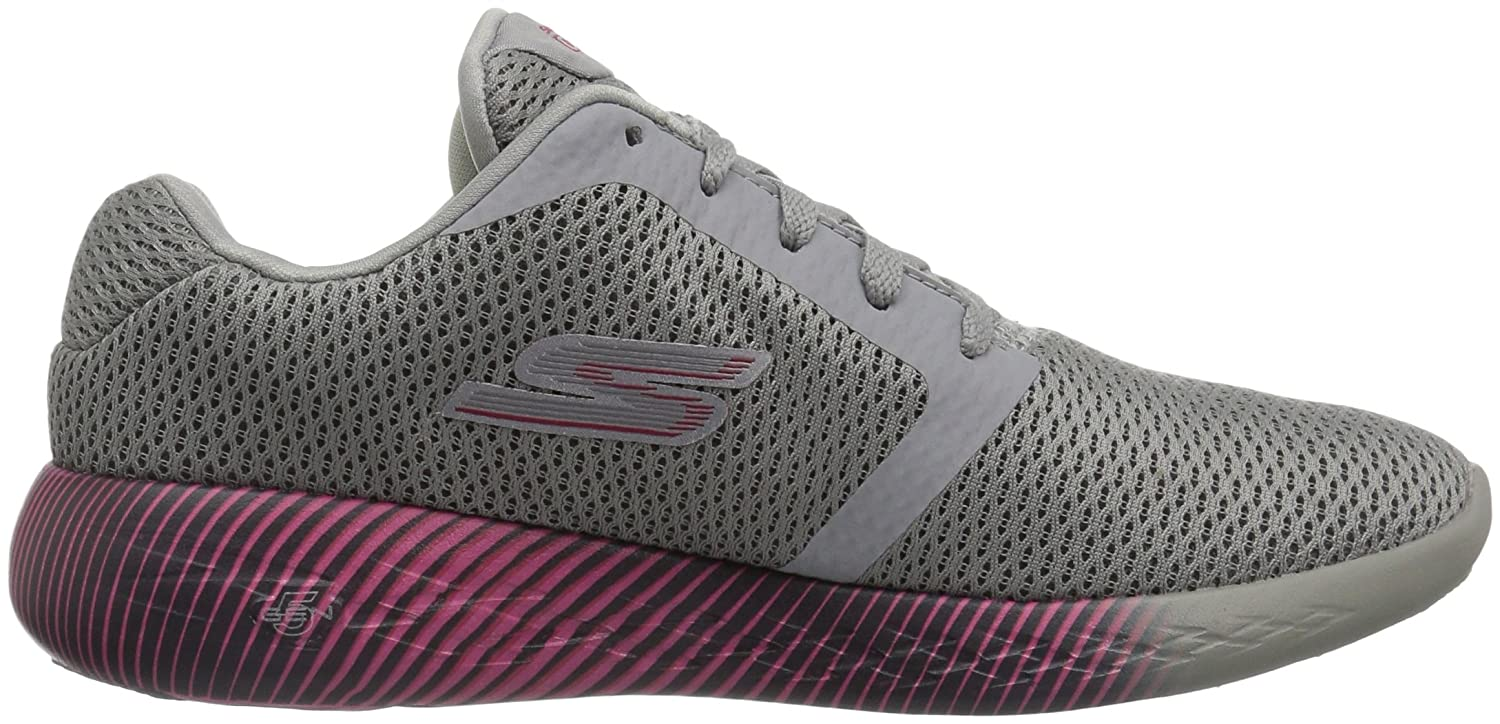 Skechers on The Go 600, Sandales Bout Ouvert Femme, Gris (Grey/Pink), 41 EU