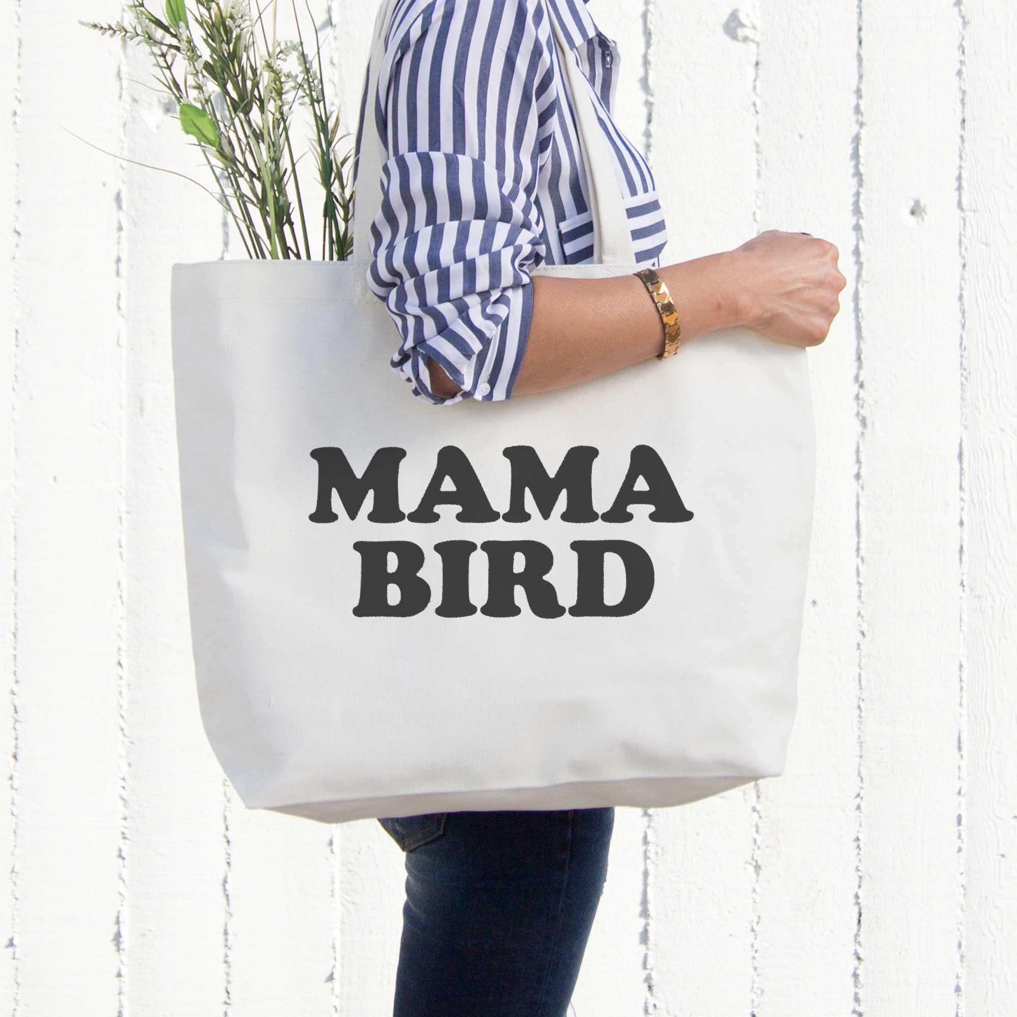 Mama Bird Canvas Bag Grocery Diaper Book Bags Gifts For Mom Mothers Day Gift by 365 In Love (Image #2)