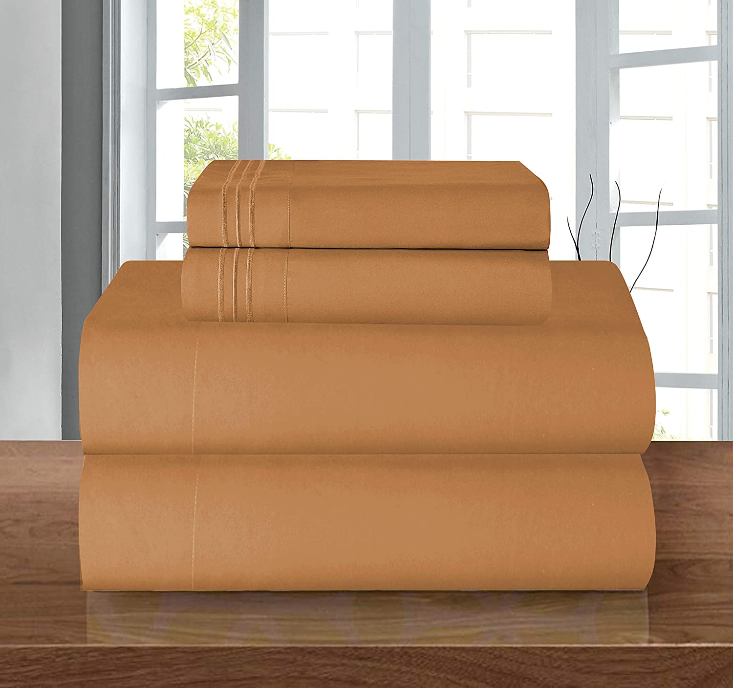 "1500 Series ULTRA SILKY SOFT LUXURY 4 pc Sheet set, Deep Pocket Up to 16"" - Wrinkle Resistant - All Size and Colors , King Bronze"