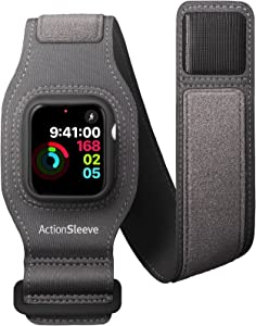 Twelve South ActionSleeve 2 for Apple Watch 44mm | Updated Protective Armband to Free Your Wrist for Sports or Activities (Grey)