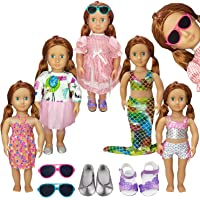 AMETUS 18 inch Doll Clothes and Accessories, for American Girl Doll Our Generation Doll, 5 Sets Dresses Outfits, 2 Pairs Shoes, 2 Sunglasses