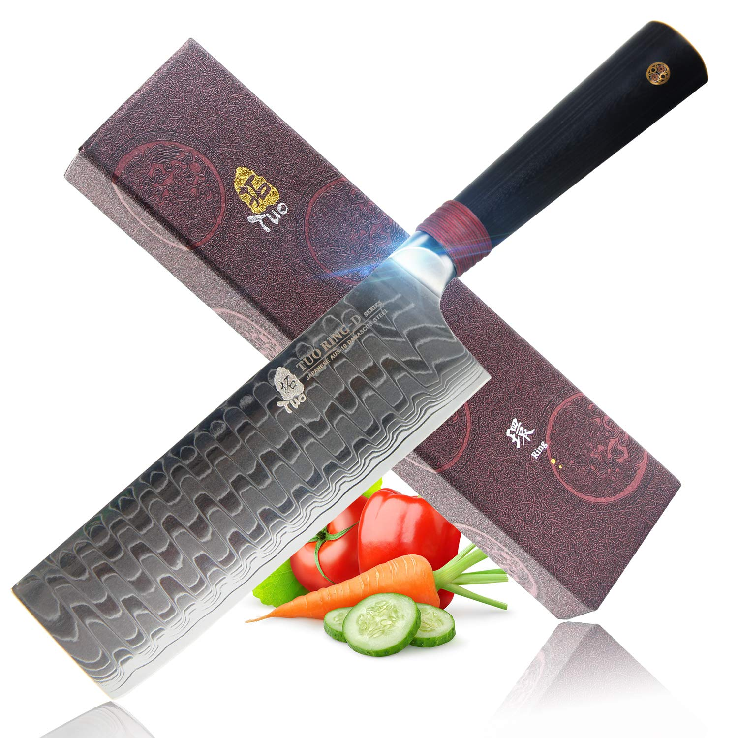 TUO Cutlery Nakiri Knife 6.5'' - Damascus Vegetable Cleaver Kitchen Knives - Japanese AUS-10 High Carbon Stainless Steel Cutting Core Blade - Damascus Pattern - G10 Handle - Gift Box - Ring-D Series by TUO (Image #1)