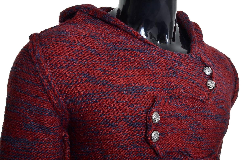 D/&R Fashion Uomo Saltatore Cappuccio Lana Cavo a Maglia Manica Lunga Maglione Pulsanti Metallici Cardigan