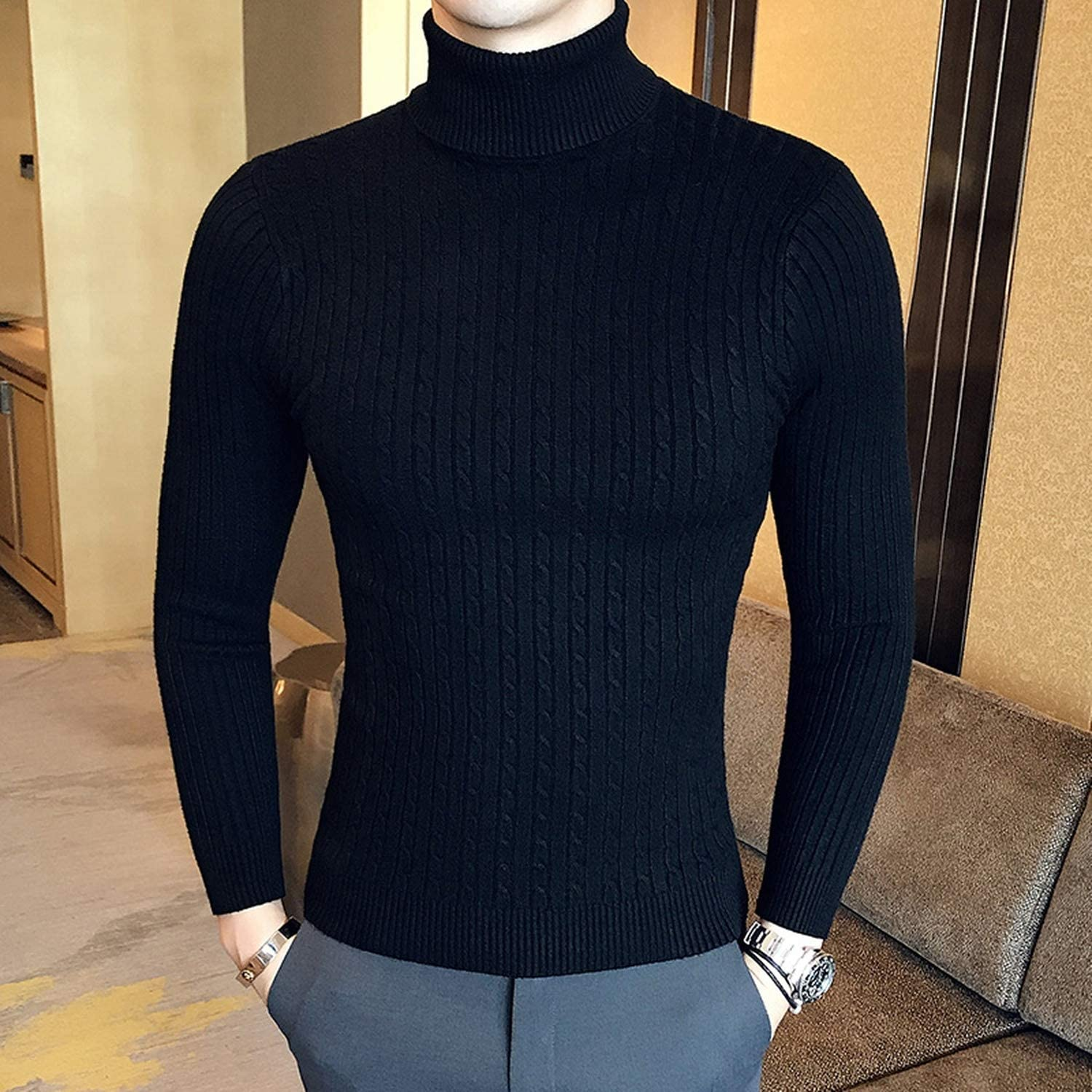 Winter High Neck Thick Warm Sweater Men Turtleneck Mens Sweaters Slim Fit Pullover  Men at Amazon Men's Clothing store
