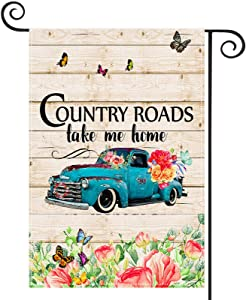 EKOREST Summer Garden Flag Blue Truck with Flowers, 12 x 18 Inch Double Sided, Country Roads Take Me Home Yard Sign for All Seasons,Small Spring and Summer Flag for Rustic Farmhouse Outdoor Decor