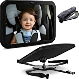 Premium Baby Mirror by FORTEM - Car Rear View Backseat Mirror For Babies and Toddlers in Baby Car Seats - Wide Angle w/ Shatterproof Glass - CRASH TESTED for SAFETY - Bonus Visor Clip