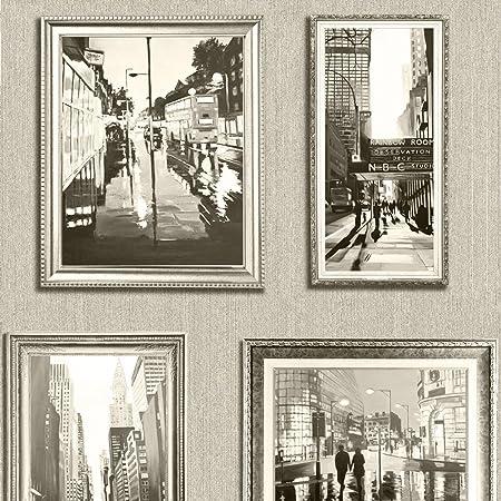 Muriva 701338 6 City Frames Wallpaper Rolls - Pearl: Amazon.co.uk ...