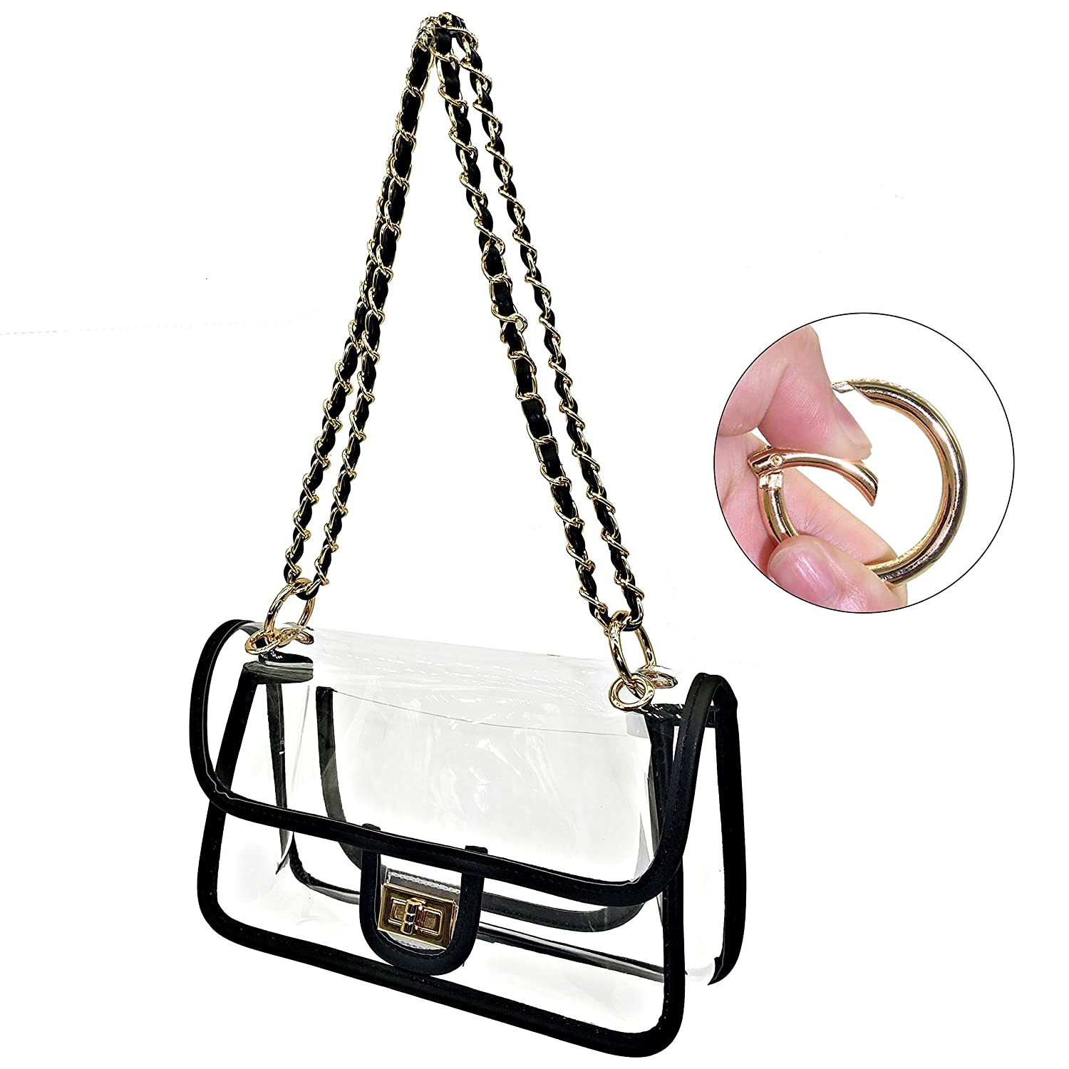 6251a3169f65 Laynos Clear Purse Turn Lock NFL Approved Chain Crossbody Shoulder Bags  Handbags
