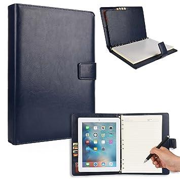 Funda para Apple iPad 2/3/4 con Cuaderno, Cooper FOLDERTAB Carcasa Tipo Cartera con planificador, libreta y Bolsillos para Zurdos y diestros (Azul)