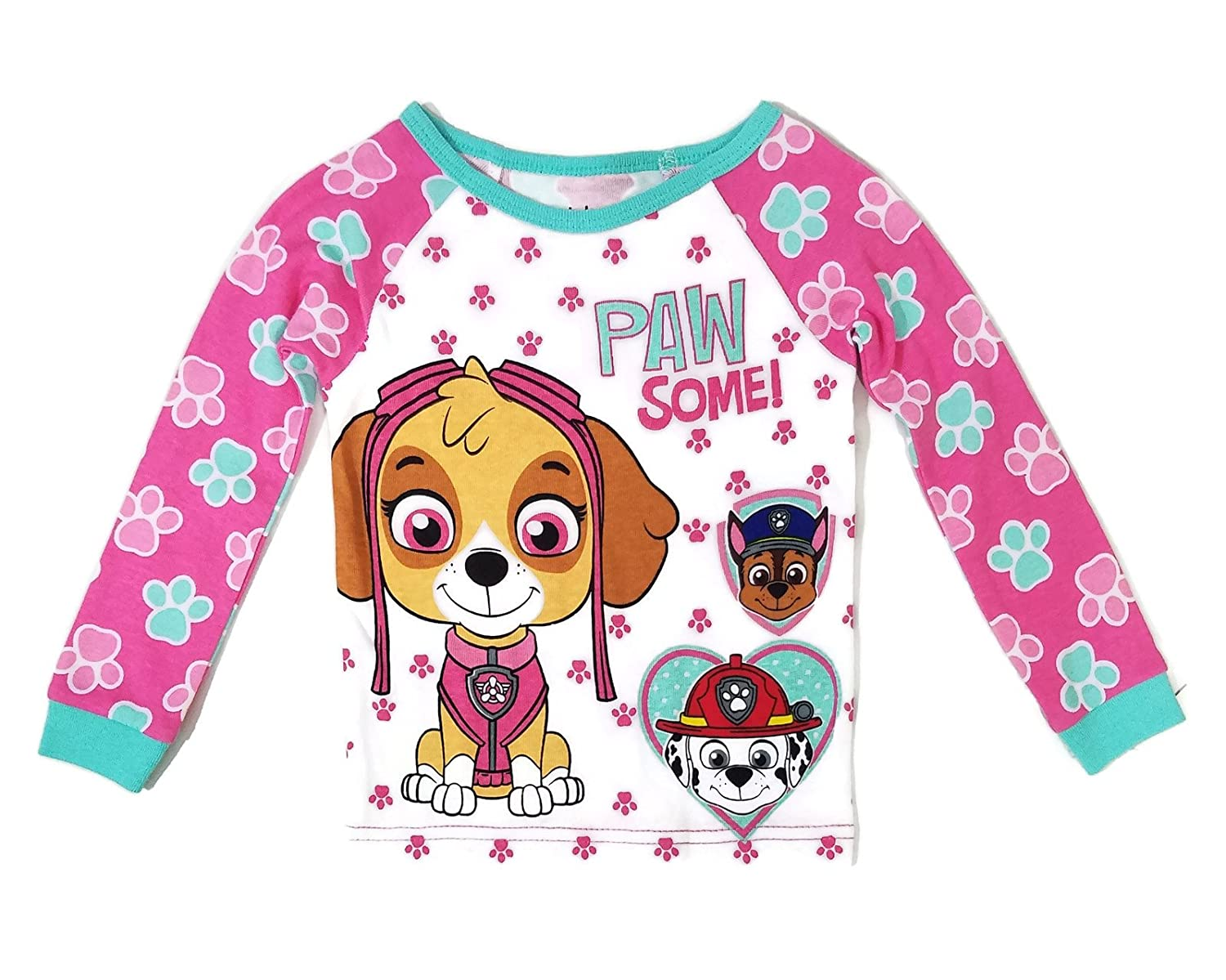 online store e7e71 42bb7 Front Graphic Features Skye Chase Marshall and Paw Print Accents Machine  Wash Cold Tumble Dy Low 100% Cotton Purchase Snug Fit Listed In Girl s Sizes