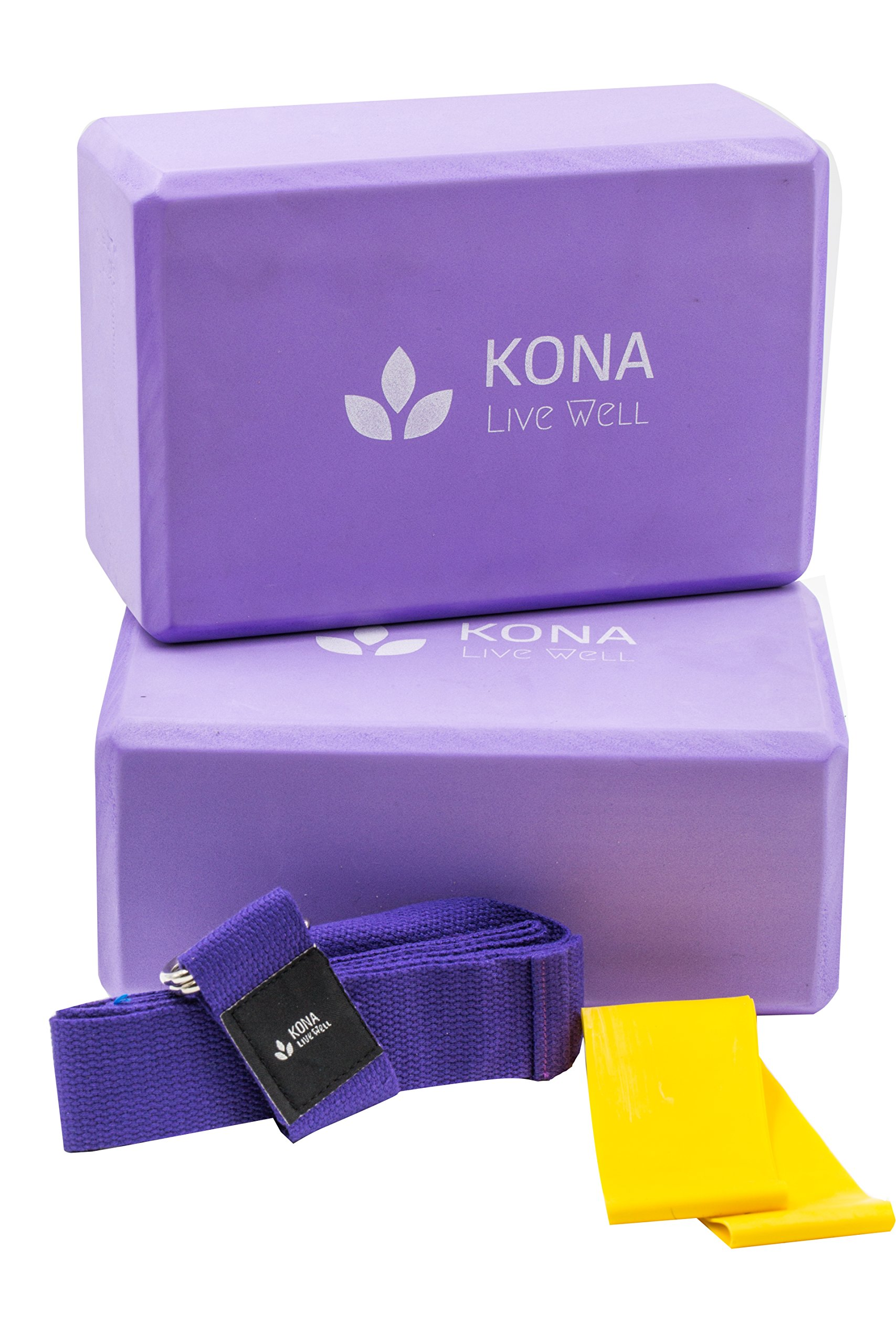 Premium KONA Yoga Set (4PC) - 2 High Density EVA Foam Blocks large 4''x 6''x 9'', 1 Cotton Yoga Strap with D-ring standard 6'' length, and 1 Resistance Band Loop - Lightweight, Odor & Moisture Resistant