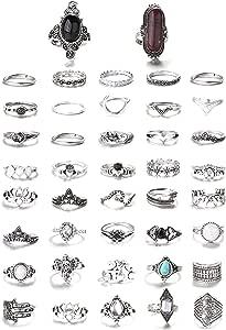 FIBO STEEL 43 Pcs Bohemian Vintage Knuckle Rings for Women Stackable Midi Finger Ring Set