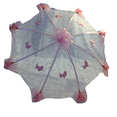 """36"""" White Lace Baby Shower Umbrella Booties & Pacifiers Pink Accents"""
