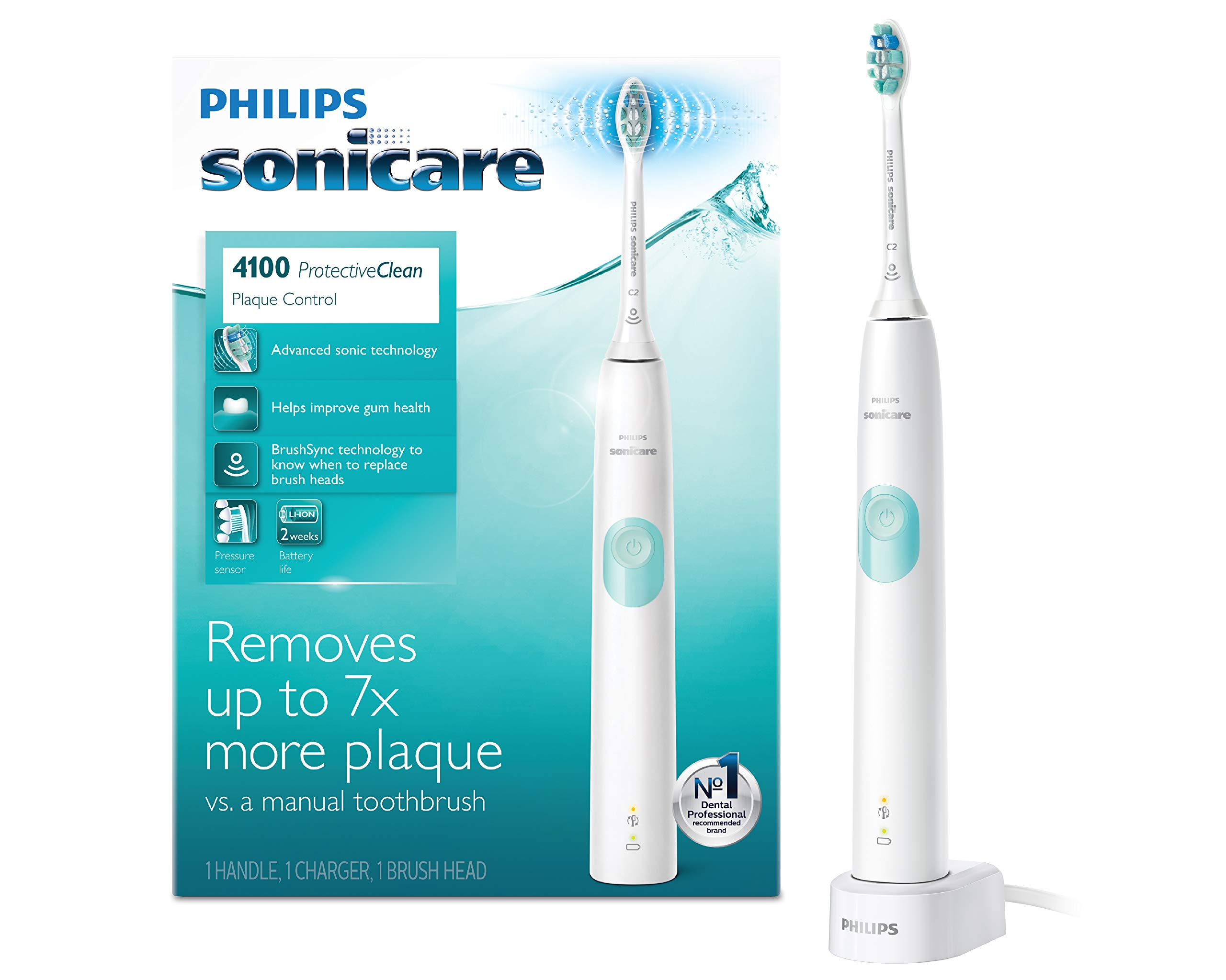 Philips Sonicare ProtectiveClean 4100 Electric Rechargeable Toothbrush, Plaque Control, White by Philips Sonicare