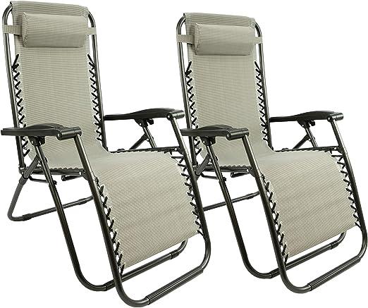 MaxxGarden Juego de tumbonas relax – Silla de jardín, camping, tumbona – Muebles de jardín terraza balcón – Plegable y ajustable – Textoline – Gris – 2 unidades: Amazon.es: Hogar