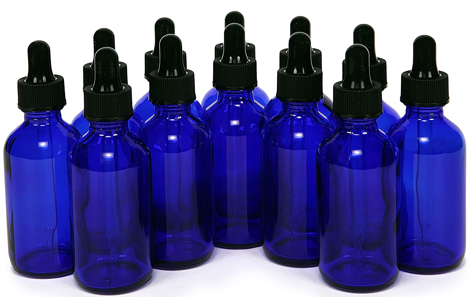 12, Cobalt Blue, 2 oz, Glass Bottles, with Glass Eye Droppers