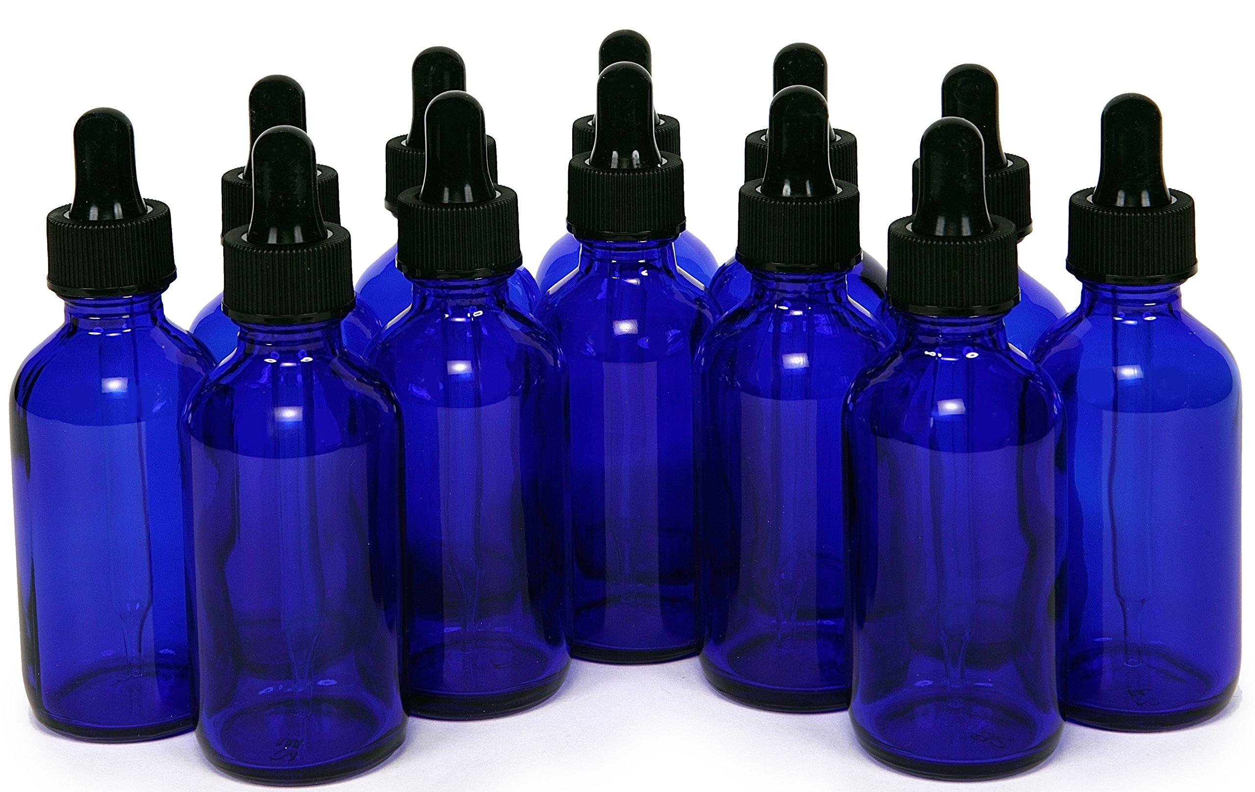12, Cobalt Blue, 2 oz, Glass Bottles, with Glass Eye Droppers by Vivaplex