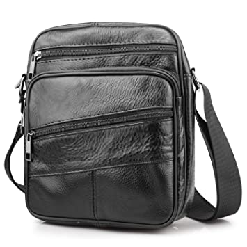 32932ee461 BAGZY Mens Genuine Cowhide Leather Shoulder Bag Ipad Case Bag Messenger Bag  Crossbody Satchel Handbag Top
