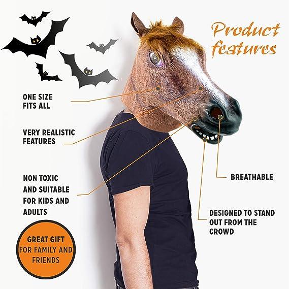The Twiddlers Máscara de Cabeza de Caballo de Latex Fiestas de Disfraces de Halloween - Eventos - Carnavales - Disfraz: Amazon.es: Juguetes y juegos