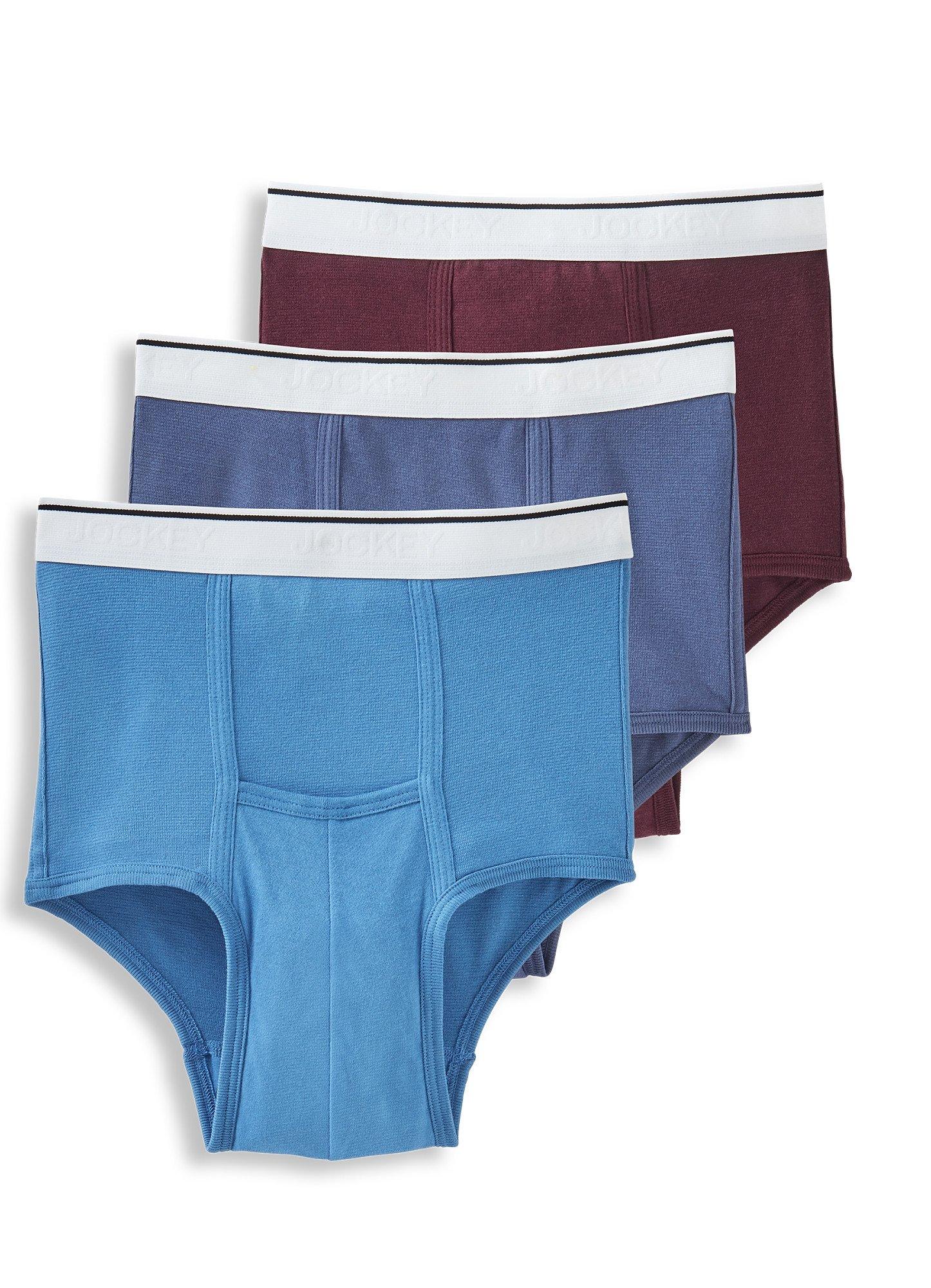 Jockey Men's Underwear Pouch Brief - 3 Pack, Air Force/Blue Wash/Deep Aubergine, XL