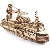 UGEARS 3D Puzzles Research Vessel - DIY Model Ship 3D - Exclusive Wooden Model Kits for Adults to Build - Unique and Creative