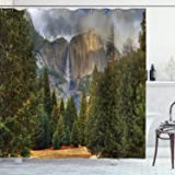 Ambesonne National Parks Shower Curtain View Of Tree Branches In Scenic Springtime Conifers Sequoia Art Prints Cloth Fabric Bathroom Decor Set With Hooks 70 Long Green Brown Home Kitchen