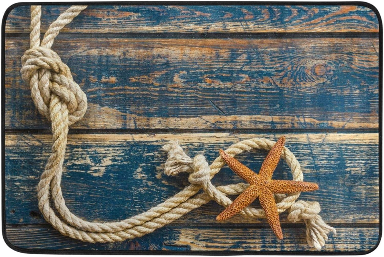 Retro Wooden Board Starfish Door Mats Vintage Beach Sea Ocean Marine Nautical Theme Floor Mat Indoor Outdoor Entrance Bathroom Doormat Non Slip Washable Welcome Mats Home Decor 23.6 x 15.7 inch