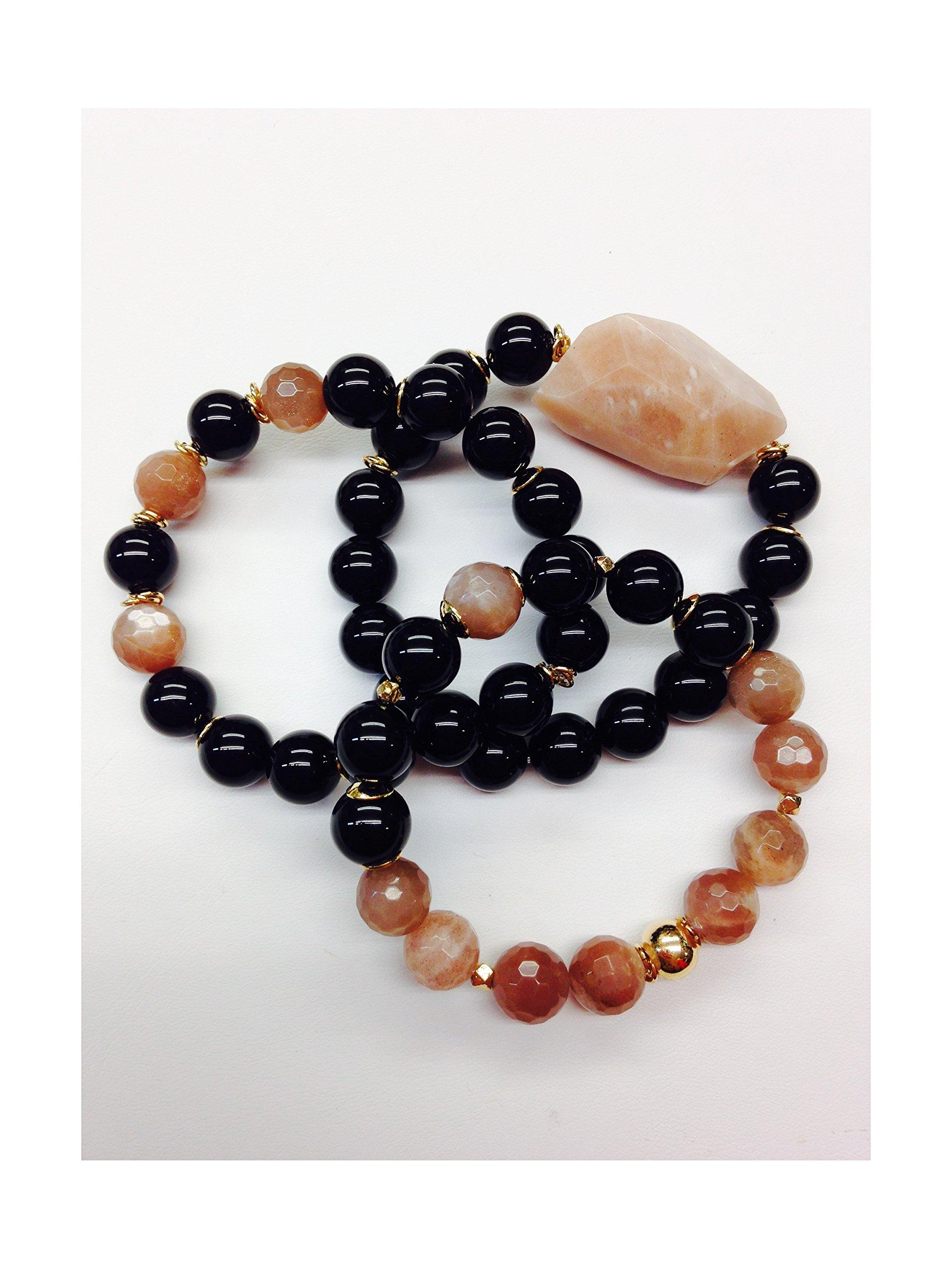 Set of 3 Handmade Bracelets - Black Onyx, Peach Moonstone, Giant Blush Moonstone Natural Stones & Goldfilled Beads by Formula Moda