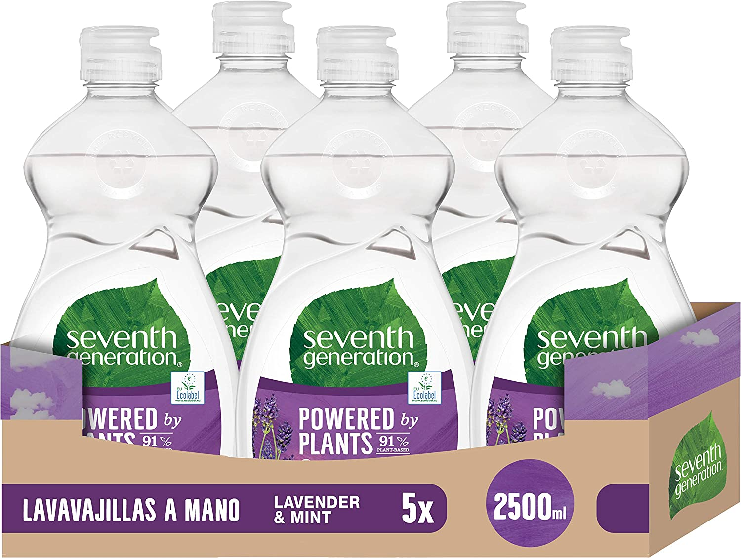 Seventh Generation Lavender Flower & Mint - Lavavajillas a Mano, 0% fragancias sintéticas y colorantes, 5 Recipientes de 500 ml, Total: 2500 ml