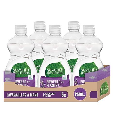 Seventh Generation Lavender Flower & Mint - Lavavajillas a Mano, 0% fragancias sintéticas y colorantes, 5 Recipientes de 500 ml, Total: 2500 ml