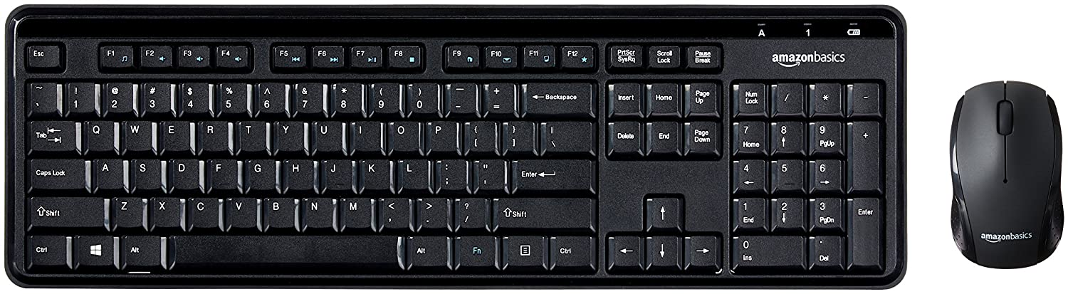 AmazonBasics Wireless Keyboard and Mouse Combo - Quiet and Compact - US Layout (QWERTY)