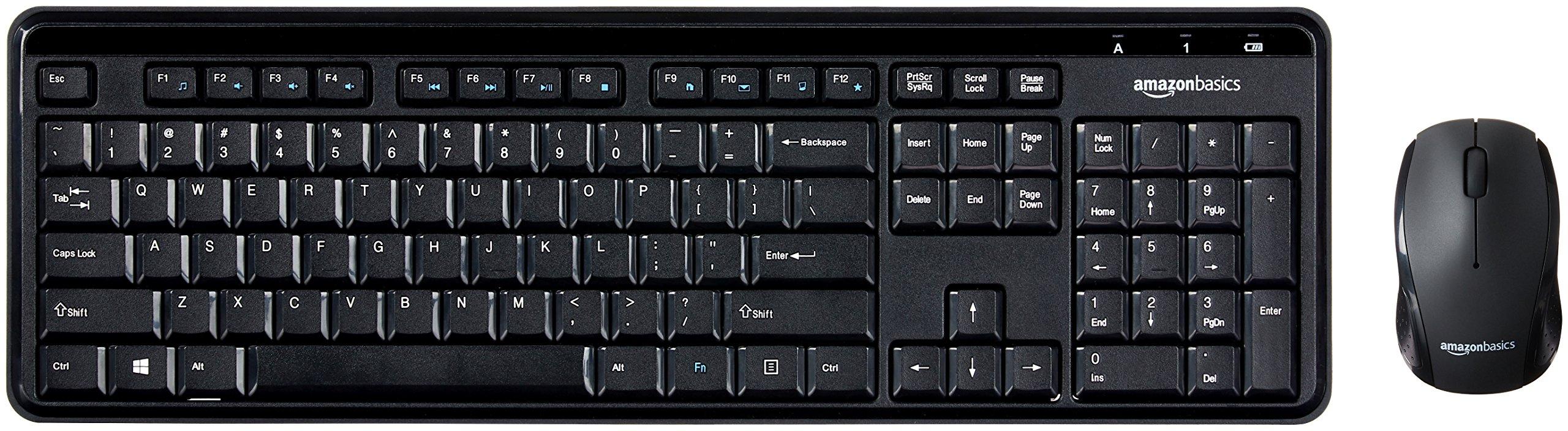 AmazonBasics Wireless Keyboard Mouse Combo - Quiet Compact - US Layout (QWERTY)