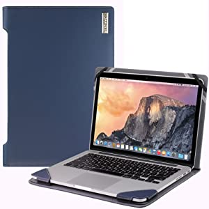 Broonel London - Profile Series - Blue Vegan Leather Luxury Laptop Case Compatible with The Acer Aspire V13 (V3-371)