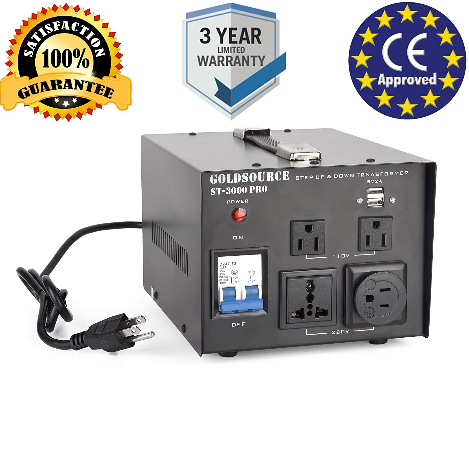 Universal ST-Pro Series Heavy-Duty AC 110//220V Converter with US Standard 1000W Auto Step Up /& Step Down Voltage Transformer Converter Schuko AC Outlets /& DC 5V USB Port by Goldsource