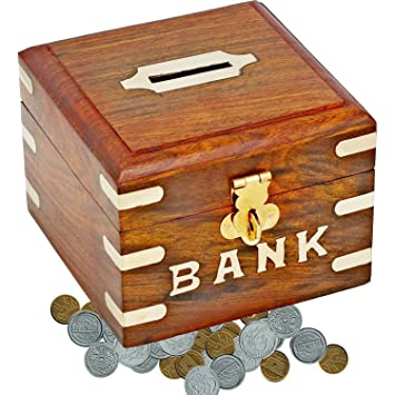 Homemade indian money box safe money bank savings box wooden homemade indian money box safe money bank savings box wooden carving unique piggy bank sciox Images