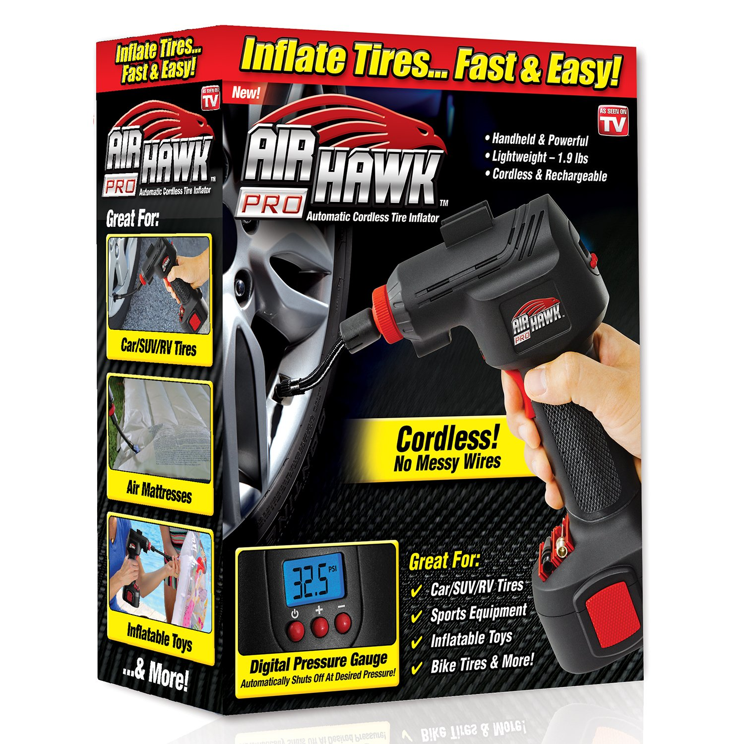 As Seen On TV 4545748787878 ONTEL Air Hawk Pro Automatic Cordless Tire Inflator Portable Air Compressor, Easy to Read Digital Pressure Gauge, Built in LED Light 4.54575E+12