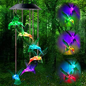 Favuit Solar Wind Chimes Color Changing Lights Mobile Outdoor Hanging Decorative Garden Lights Xmas Decor Home Patio Yard Indoor (Hummingbird)