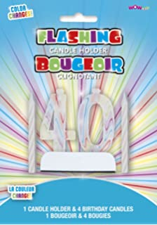WOW Colour Changing Flashing Number 40 Birthday Candle Holder With 4 Candles