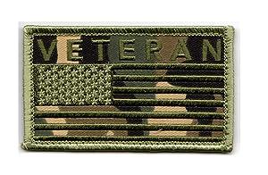 "Veteran American Flag 2"" x 3.5"" OD Camo Hook & Loop 2 Piece Patch"