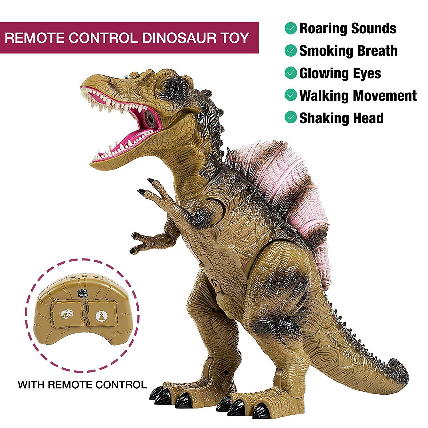 Build Me Remote Control Dinosaur Toy for Kids with Roaring Sounds and Smoking Breath. RC Spinosaurus Dino with Glowing Eyes, Walking Movement, Shaking Head. by Build Me (Image #2)