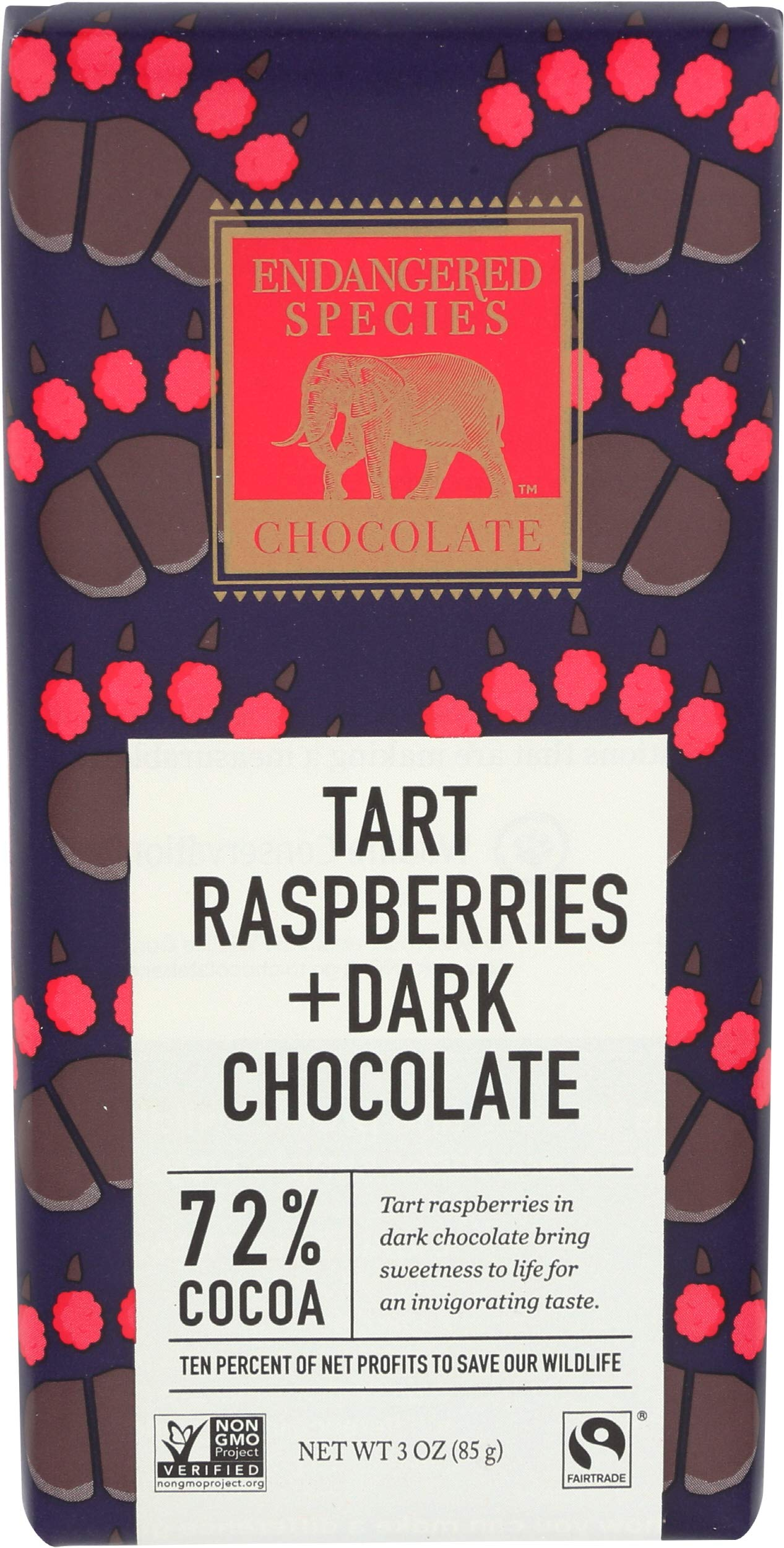Endangered Species Chocolate Bar Grizzly Dark Raspberry, 3 oz