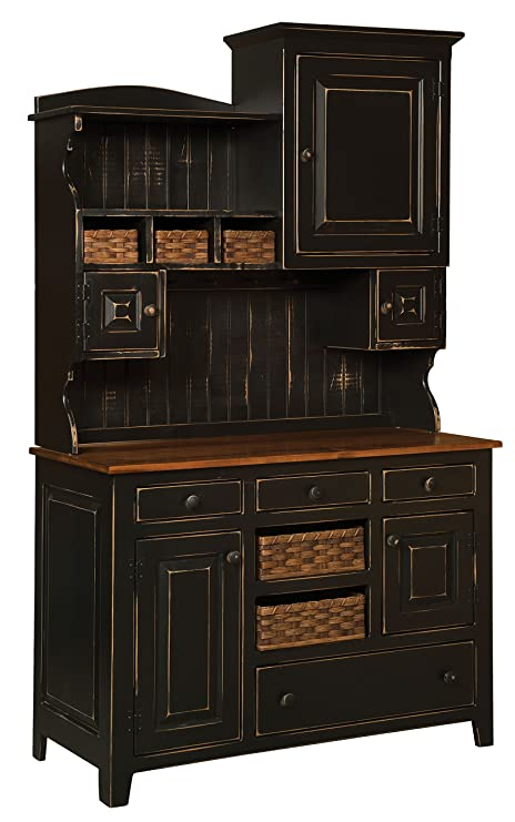 Amazon.com: Farmhouse Primitive Kitchen Hutch Lizzy (Black ...