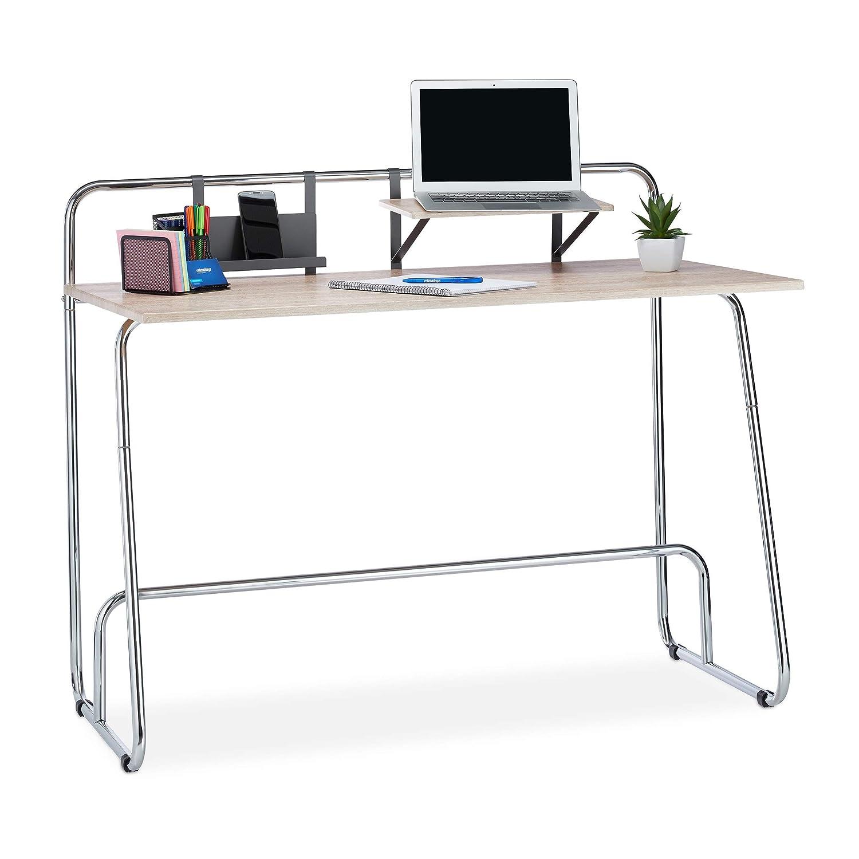 Relaxdays Schreibtisch Eichenoptik, Computertisch mit Ablagen, Bürotisch Metallgestell, HBT HBT HBT 96x120x60cm, Natur Silber bacc8d