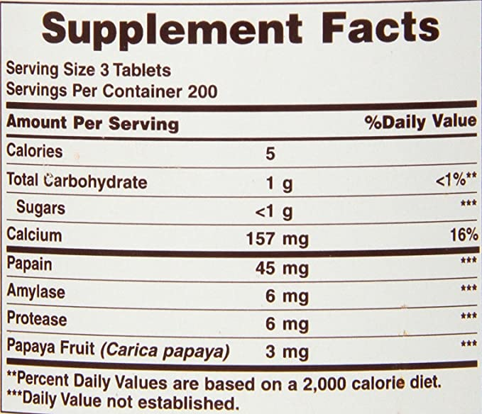 American Health Products - Original Papaya Enzyme, 600 chewable ...