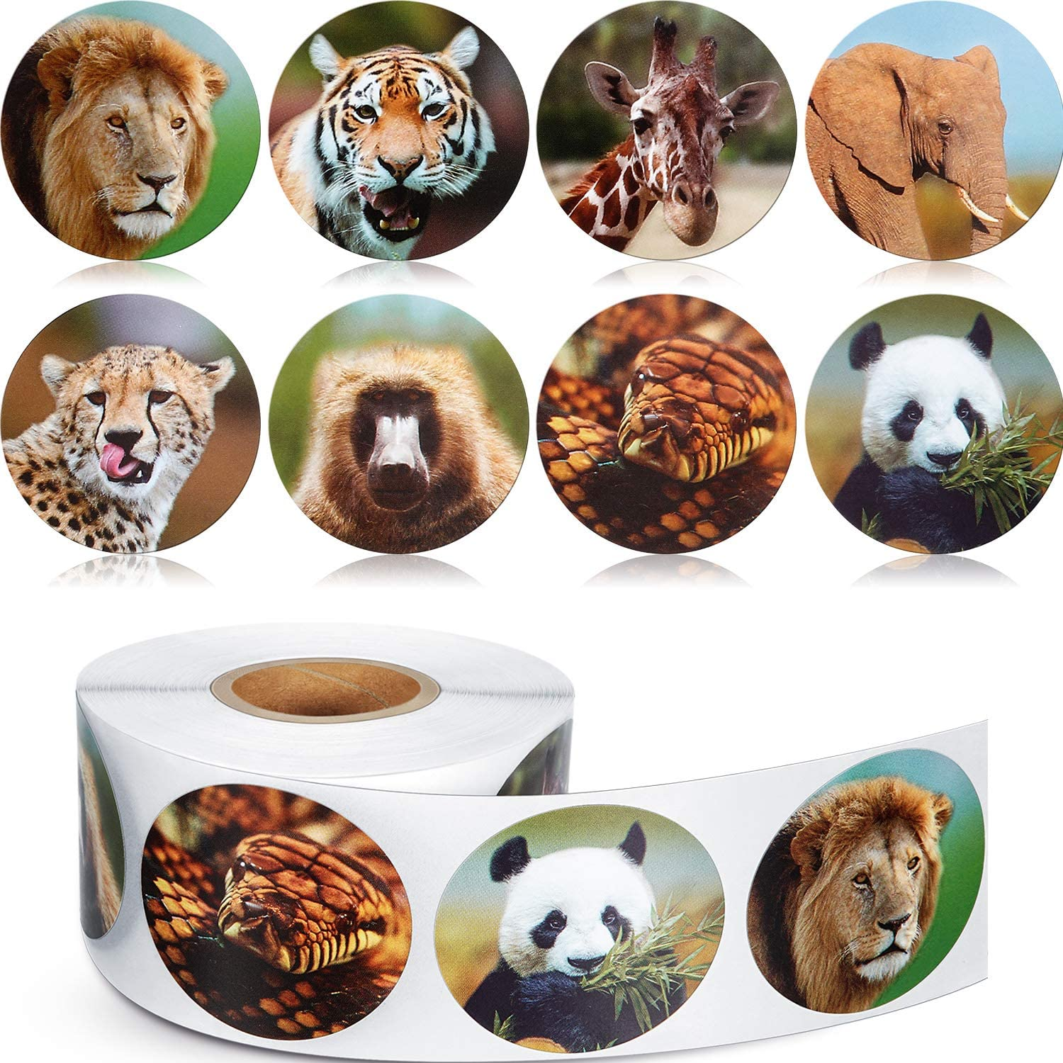 Chinco 500 Pieces Animal Stickers Zoo Animal Roll Stickers 1-1/2 Inch Self Adhesive Label Animal Shape Wall Decals for Kids Party Favors, 8 Styles