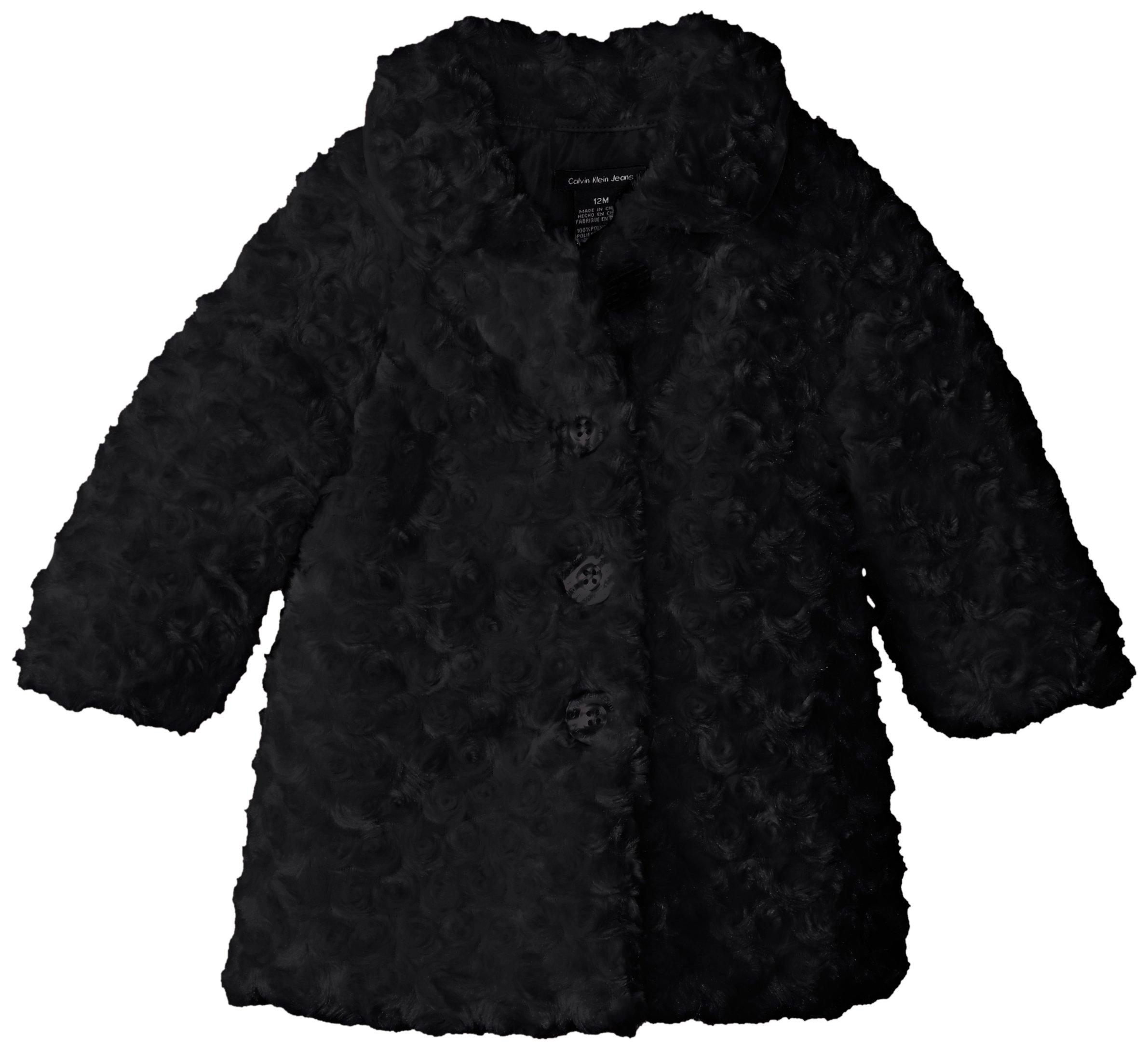 Calvin Klein Baby Girls' Black Faux Fur Jacket, Black, 24 Months