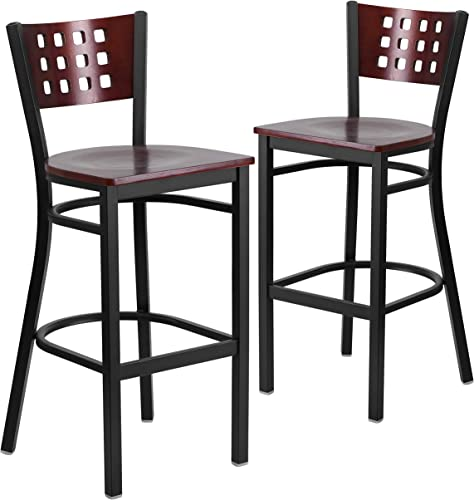 Flash Furniture 2 Pk. HERCULES Series Black Cutout Back Metal Restaurant Barstool
