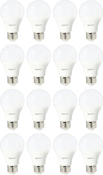 Amazon Basics 60 Watt Equivalent Daylight Non Dimmable 15 000 Hour Lifetime A19 Led Light Bulb 16 Pack